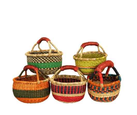 Ghana Korb Bolga mini bunt | Einkaufskorb 19 – 21 cm